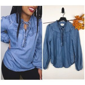 Anthropologie💙• Maeve Chambray Peasant Blouse